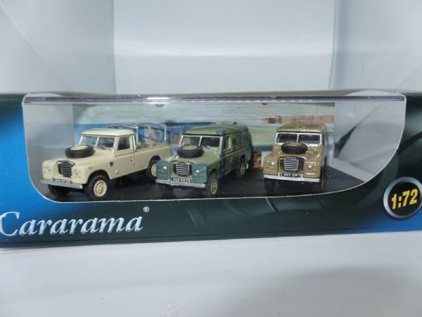Cararama 713PND 1/72 3 Pc Land Rover Set Military Camo Ambulance & Beige Frame